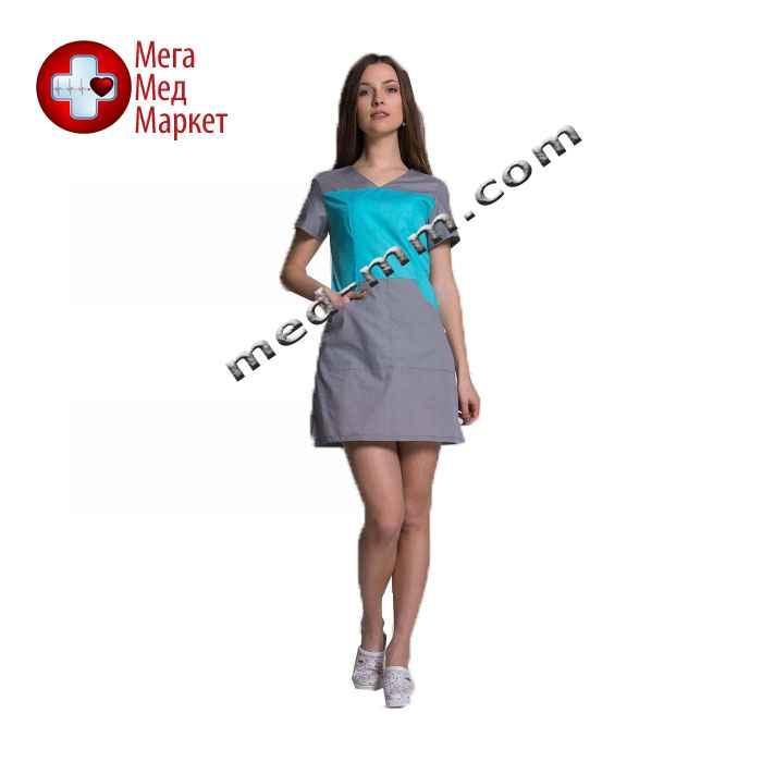 Медицинский халат женский Сидней мятный/серый №82