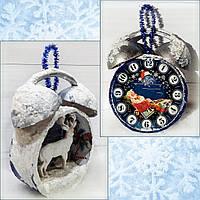 Елочное украшение Будильник с оленем Подарок на день св. Николая Новый год Рождество