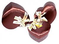 """9040187 Коробка """"Сердце"""" с мягким верхом средняя коричневая"""