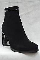 Черные замшевые нарядные  ботинки MALROSTTI с металлическими вставками на каблуке  , фото 1