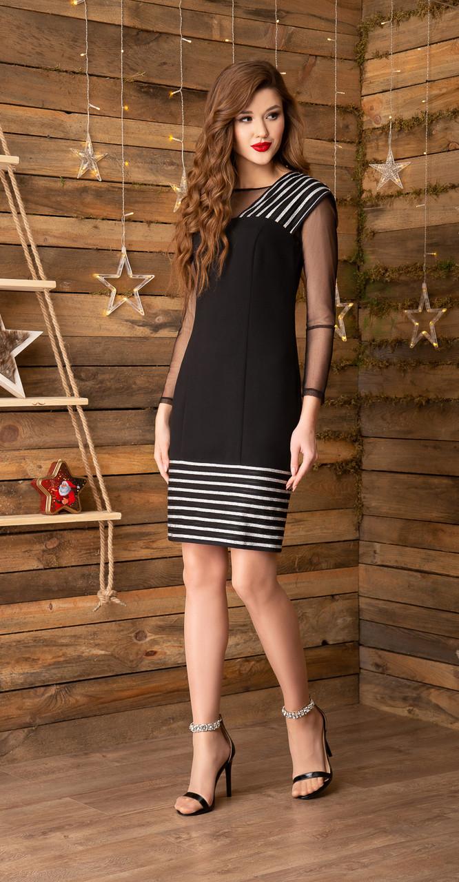 Платье Gizart-5039с белорусский трикотаж, черный+серебро, 44