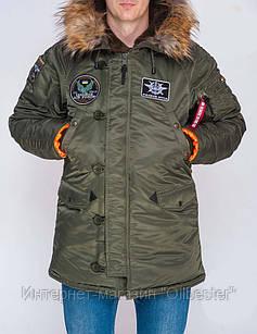Зимняя мужская куртка Аляска N-3B Olymp з нашивками