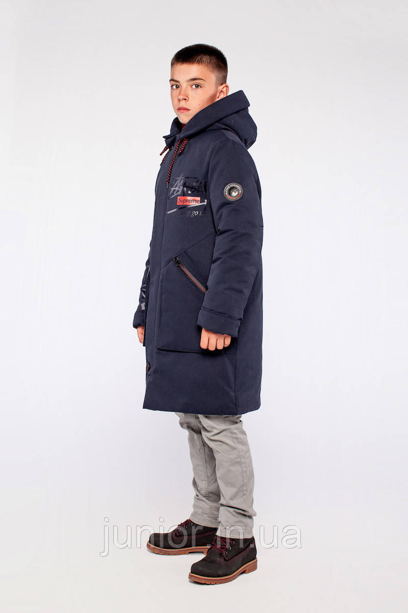 """Зимова куртка парку для хлопчика на овчині """"Джастін"""" 158р"""