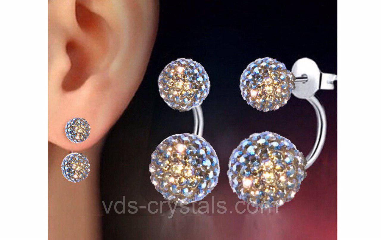 Серебряные серьги с камнями Swarovski 86301