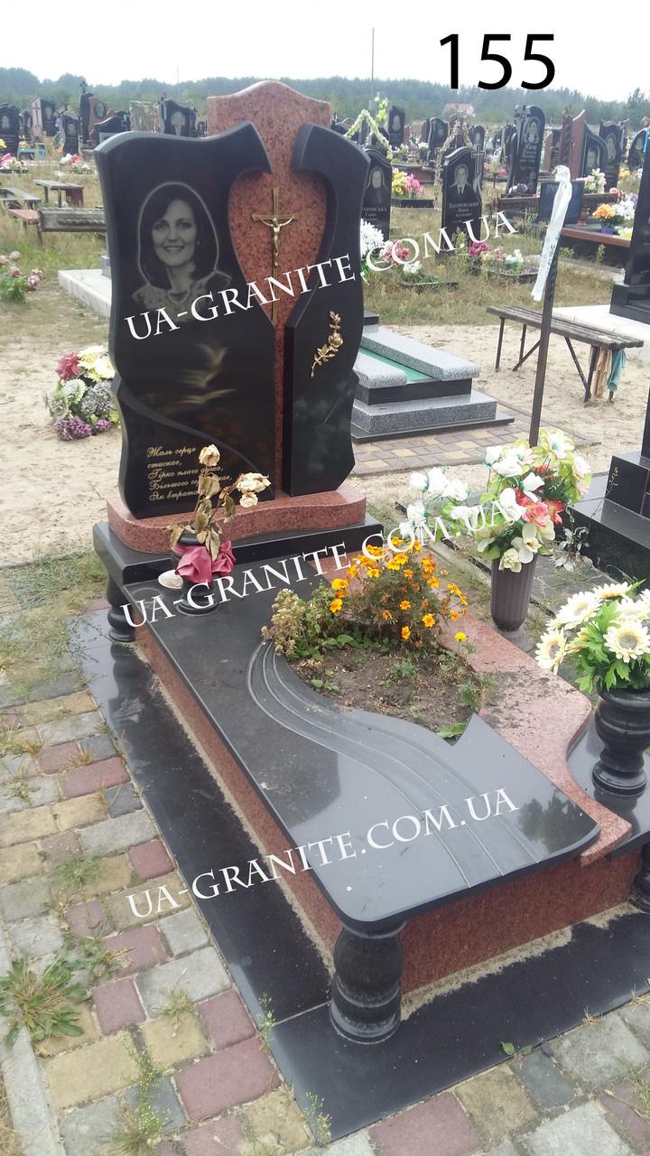 Элитный женский памятник с плиткой гранита комбинированный