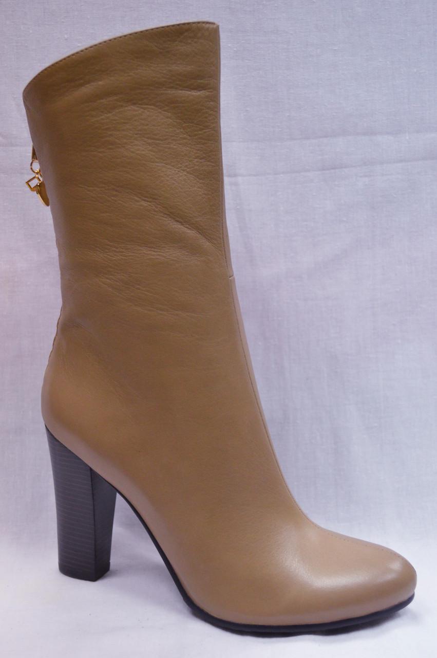 Бежеві шкіряні черевики GERONEA з плетеним смужкою ззаду по халяві