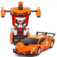 Машинка Трансформер на Радіокеруванні Lamborghini Car Robot Size 1:18 Помаранчева, фото 1