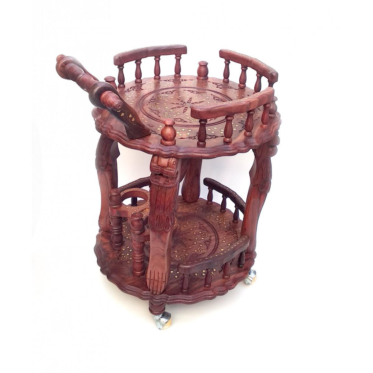 Стол сервировочный круглый розовое дерево 76х53х49 см 32352