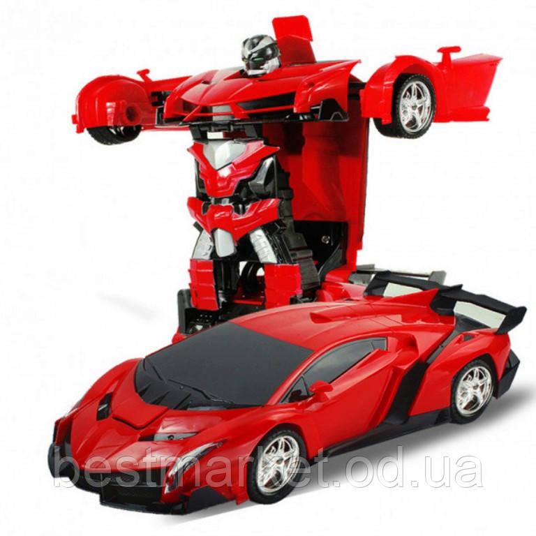 Машинка Трансформер на Радиоуправлении Lamborghini Robot Car Size 1:18 Красная
