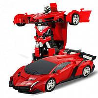 Машинка Трансформер на Радиоуправлении Lamborghini Robot Car Size 1:18 Красная, фото 1