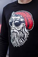 Свитшот новогодний на флисе Bad Santa черная | Кофта зимняя | ЛЮКС, фото 1