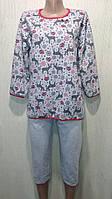 Байковая серая пижама с оленями 44-54 р