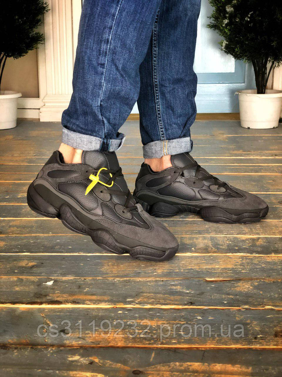 Чоловічі зимові кросівки Adidas Yeezy 500 (хутро) (чорні)