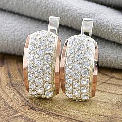 Серебряные серьги с золотом Элит размер 15х9 мм белые фианиты вес 2.8 г