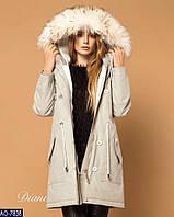 Женская Зимняя КУРТКА-ПАРКА с мехом на капюшоне