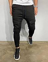 Мужские джинсы серого цвета зауженные на манжете с накладными карманами