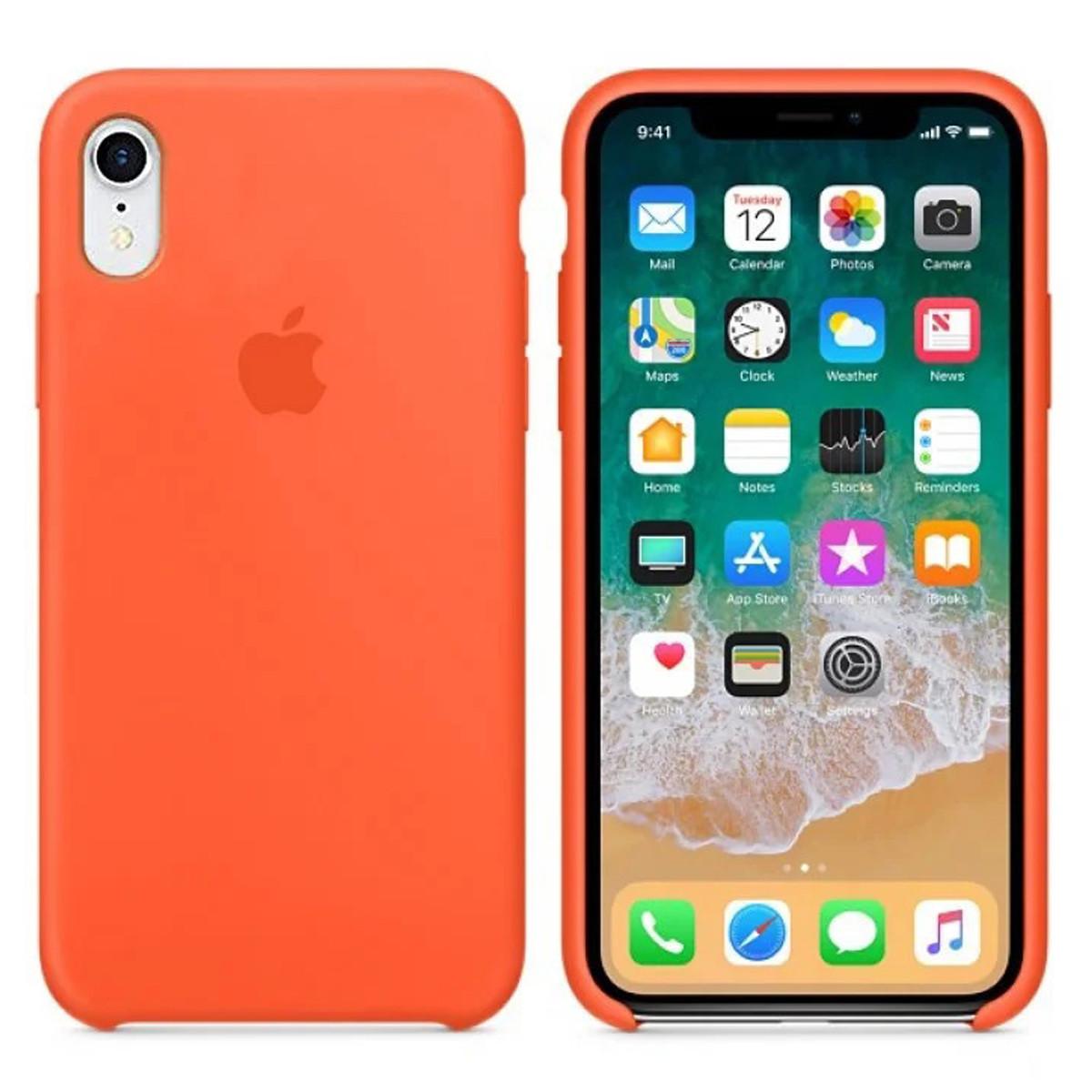 Силиконовый чехол для Apple iPhone XR Silicone case (Оранжевый)