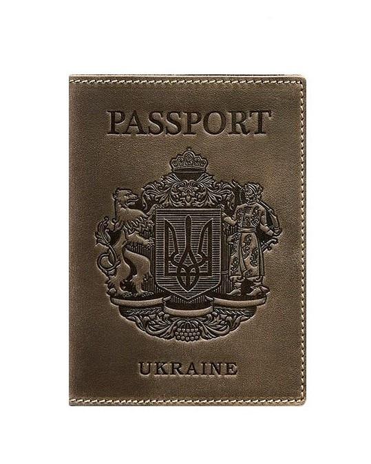 Обложка кожаная для паспорта темно-коричневая Украинский герб (ручная работа)