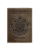 Шкіряна обкладинка для паспорта темно-коричнева Український герб (ручна робота)