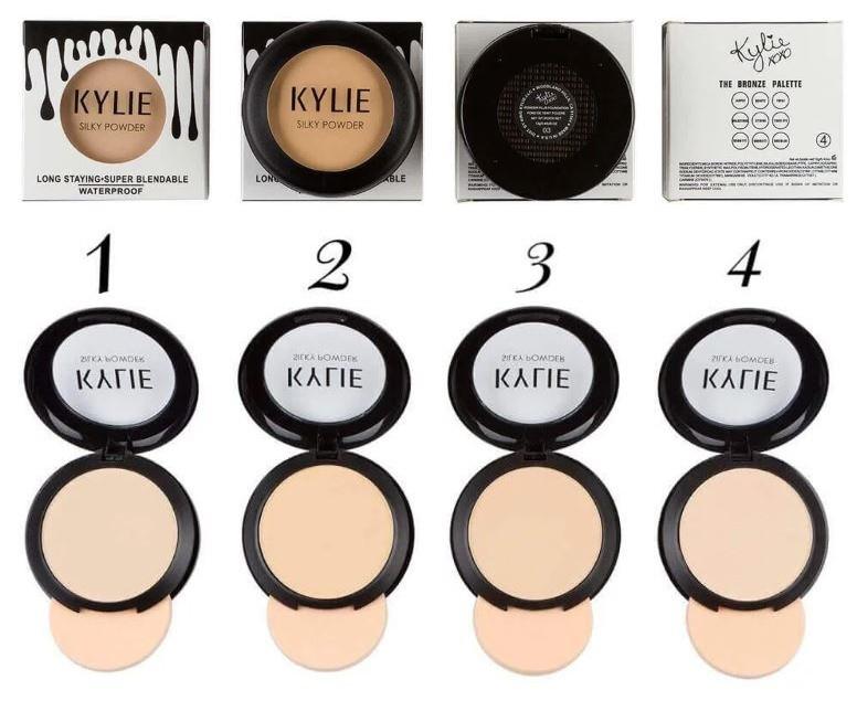 Пудра Kylie компактна (ПАЛІТРОЮ - 4 ШТ № 1,2,3,4) Чорні краплі на білому фоні | 766