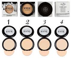 Пудра Kylie компактная (ПАЛИТРОЙ - 4 ШТ № 1,2,3,4) Чёрные капли на белом фоне | 766