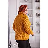 Женский вязаный свитер с горловиной удобный и теплый нить марс размер универсальный 48-54, фото 5