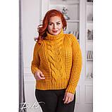 Женский вязаный свитер с горловиной удобный и теплый нить марс размер универсальный 48-54, фото 3