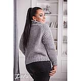 Женский вязаный свитер с горловиной удобный и теплый нить марс размер универсальный 48-54, фото 6