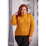Женский вязаный свитер с горловиной удобный и теплый нить марс размер универсальный 48-54, фото 8