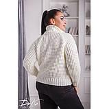 Женский вязаный свитер с горловиной удобный и теплый нить марс размер универсальный 48-54, фото 9