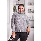 Женский вязаный свитер с горловиной удобный и теплый нить марс размер универсальный 48-54, фото 2