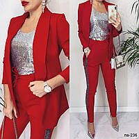 Женский стильный нарядный брючный костюм-тройка с пиджаком 2 цвета С, М +большие размеры