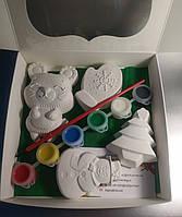 Новогодний набор гипсовых фигурок для творчества. Різдвяний набір гіпсових фігурок для творчості №88