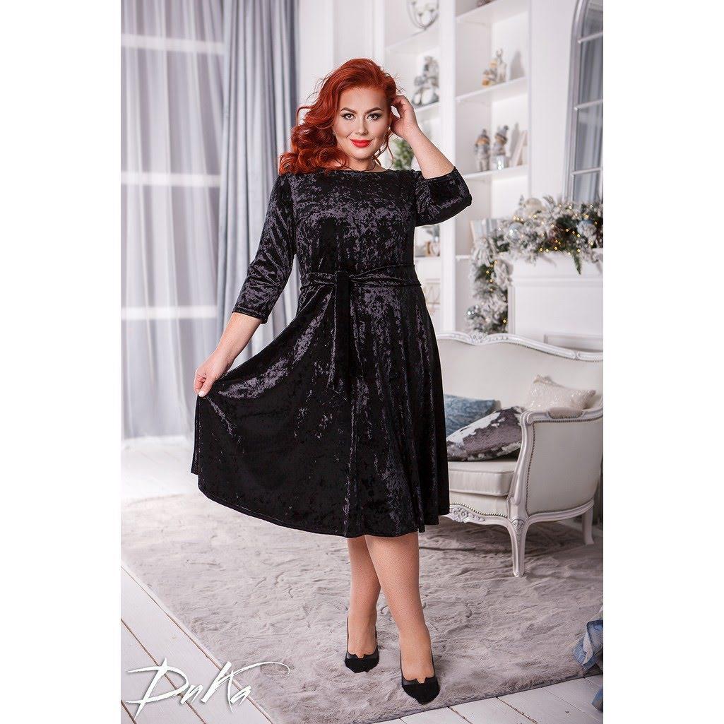 Женское нарядное платье удлиненный рукав бархат мраморный черное и розовое размер: 50-52, 54-56