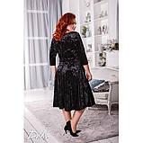 Женское нарядное платье удлиненный рукав бархат мраморный черное и розовое размер: 50-52, 54-56, фото 2