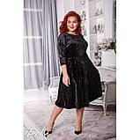 Женское нарядное платье удлиненный рукав бархат мраморный черное и розовое размер: 50-52, 54-56, фото 3