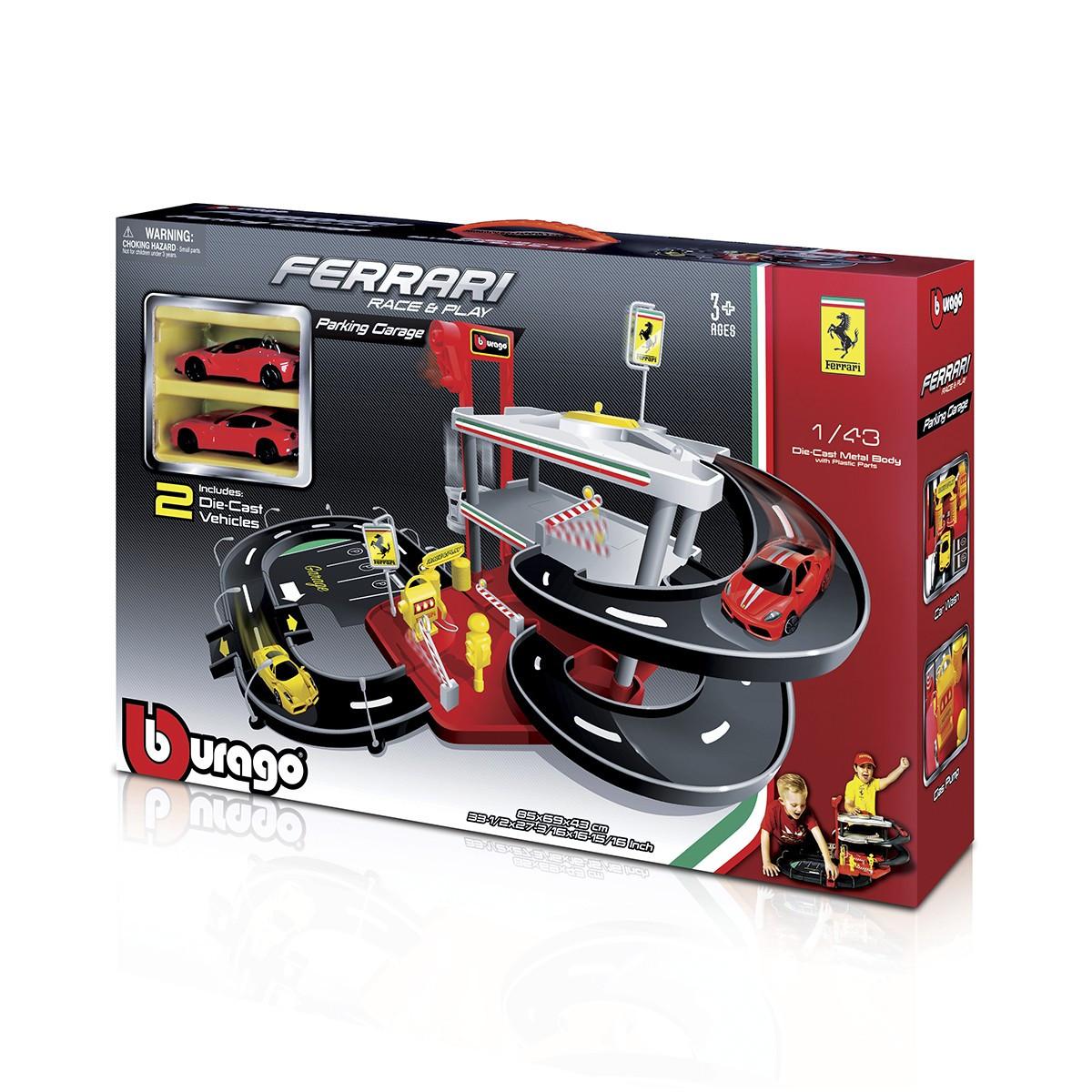 Ігровий Набір - Гараж Ferrari 3 Рівня, 2 машинки (1:43), Bburago