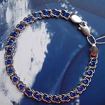 Серебряный женский браслет с фианитами, 180-230мм, Арабский бисмарк, фото 3