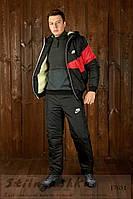 Мужской костюм на овчине черный с красным, фото 1
