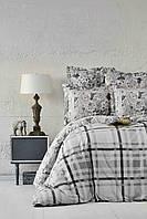 Постельное белье евро Plaid серый ранфорс Karaca Home