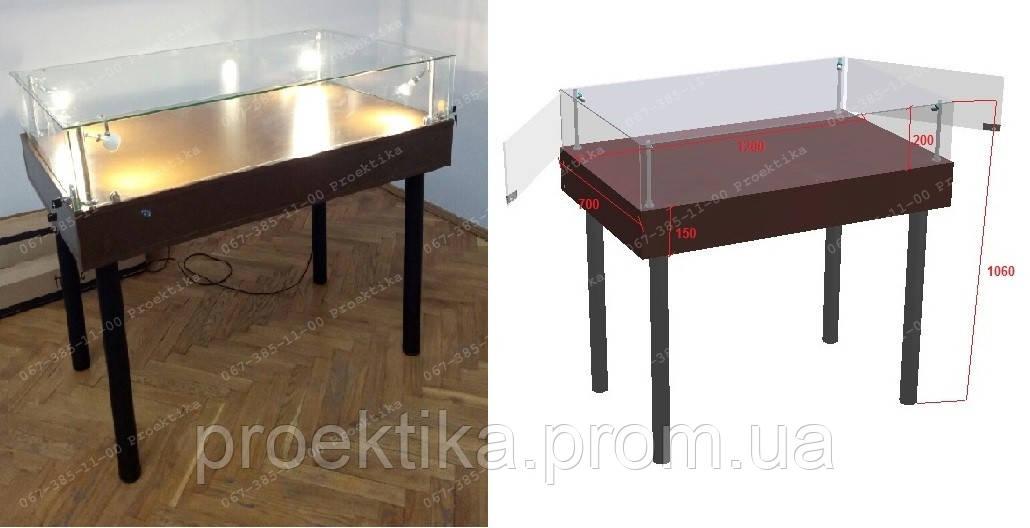 Витрина стол для демонстрации, музейная выставочная витрина