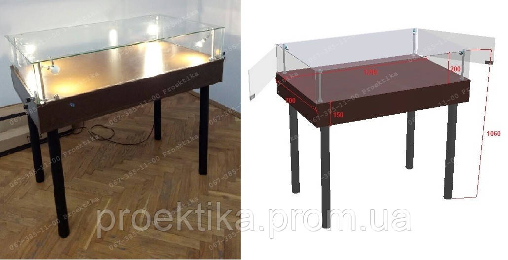 Витрина стол для демонстрации, музейная выставочная витрина, фото 1