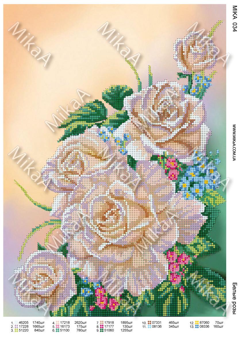 """Схема для частичной вышивки бисером - """"Белые розы"""""""