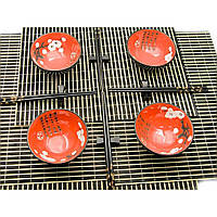 """Сервиз для лапши """"Красный с цветами сакуры"""" 4 персоны 34,5х34,5х7 см 23738"""
