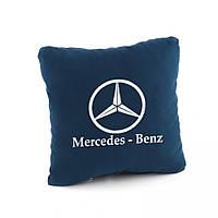 Подушка с логотипом Mercedes Benz темно-синий флок