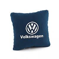 Подушка с логотипом Volkswagen флок темно-синий флок