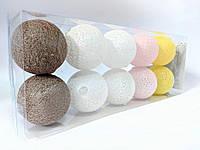 Гирлянды декоративные Cotton Balls 10led, диам 6см, длина 180см на батарейках АА #4
