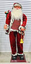 Новогодний декор Дед Мороз Санта Клаус с мешком подарков большой 150 см
