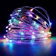 Гирлянда светодиодная нить 10 м 100 led (разноцветная) Multicolor на батарейках #23