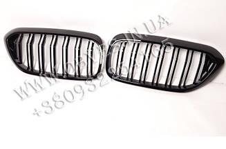 Решетка радиатора BMW G30 (ноздри G30 с двойными ламелями, черный глянец)